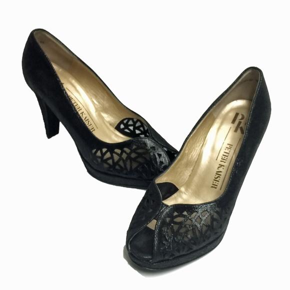 quality design a0ce4 46b87 PETER KAISER Black Peep-Toe Starlet Heels